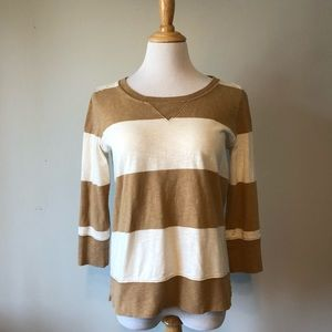 EUC- J. CREW- Tan and White Striped Crewneck Top-S